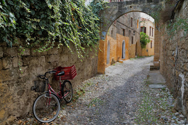 Dodecanese Photograph - Parked Cycle In Rhodes Old Town by Martin Child