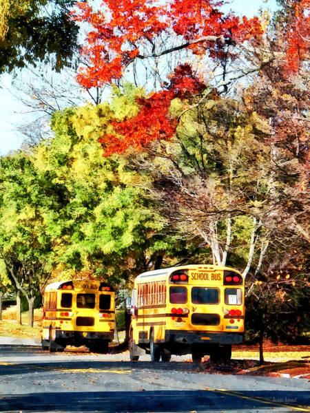 Photograph - Parked School Buses by Susan Savad