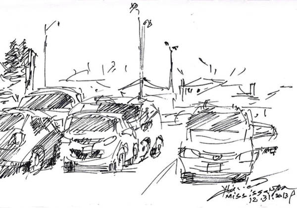 Ink Drawing - Parking Lot  by Ylli Haruni