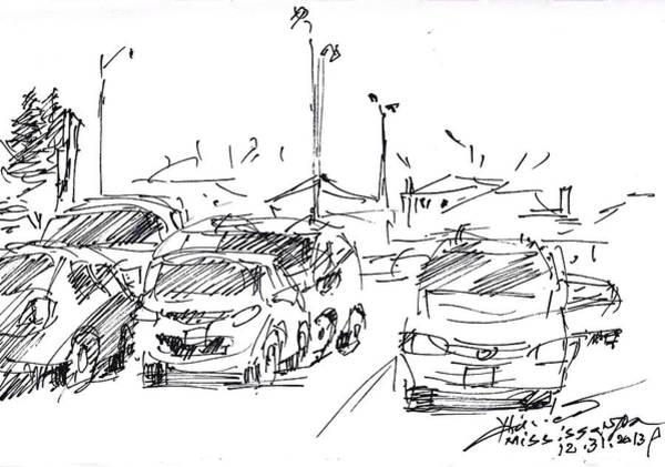 Car Drawing - Parking Lot  by Ylli Haruni