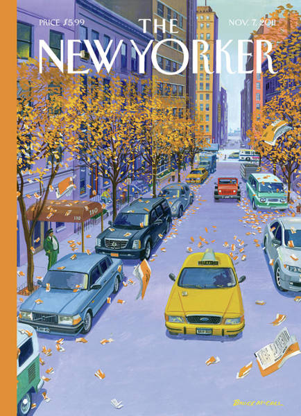 Painting - Parking Tickets Falling Off Trees Similar Leaves by Bruce McCall
