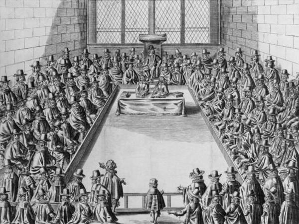 Houses Of Parliament Photograph - Parliament During The Commonwealth, 1650 Engraving Bw Photo by French School