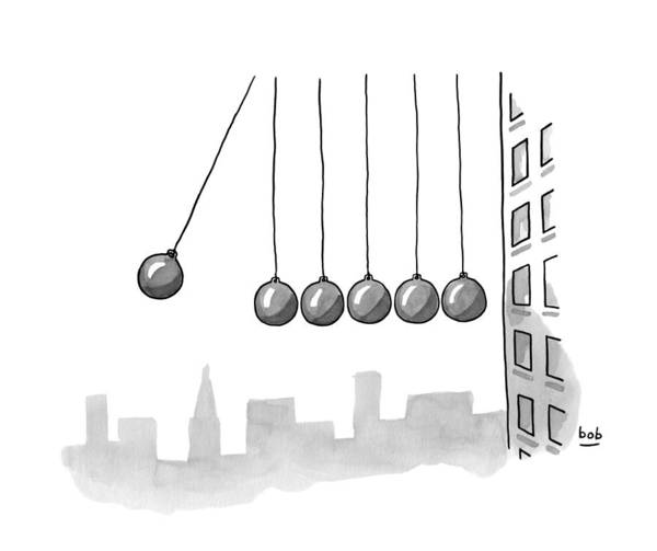 Gravity Drawing - Parody Of Newton's Cradle. Six Wrecking Balls by Bob Eckstein