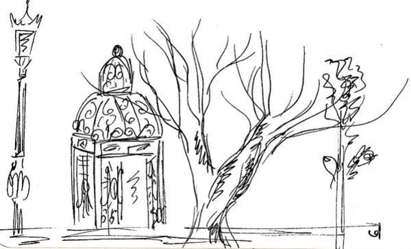 Beautiful Park Drawing - Parque De La Bateria by Chani Demuijlder