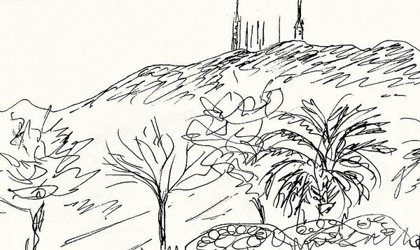 Beautiful Park Drawing - Parque De La Paloma In Benalmadena by Chani Demuijlder