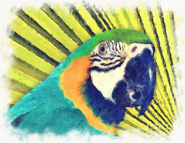 Palm Frond Digital Art - Parrot In A Palm Tree by Phil Perkins