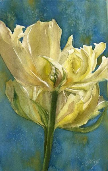 Painting - Parrot Tulip With Blues by Alfred Ng