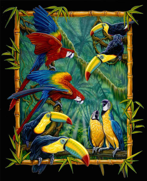 Wall Art - Painting - parrots Black by JQ Licensing