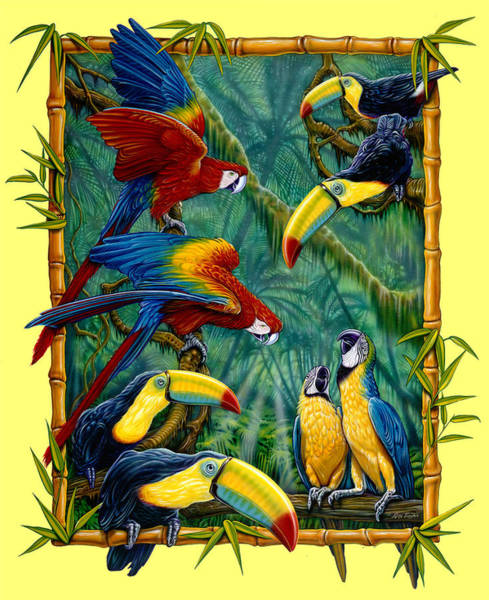 Wall Art - Painting - Parrots Yellow by JQ Licensing