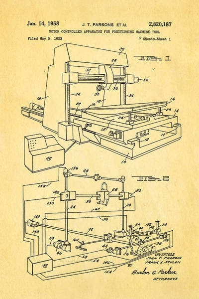 Fitter Photograph - Parsons Numeric Machine Control Patent Art 1958 by Ian Monk