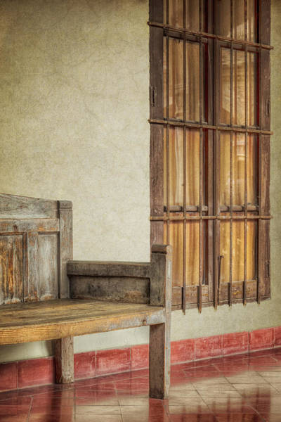 Cloister Photograph - Part Of A Bench by Joan Carroll