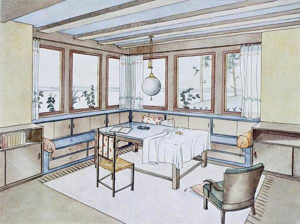 1920s Drawing - Part Of A Living Room, From Modern by W. Schneider