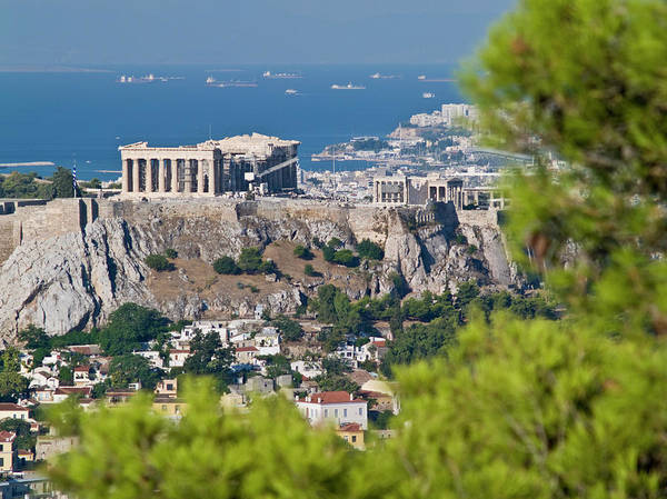 Ancient Greek Photograph - Parthenon, Acropolis Hill And Some by George Tsafos