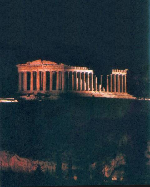 Painting - Parthenon At Night by Troy Caperton