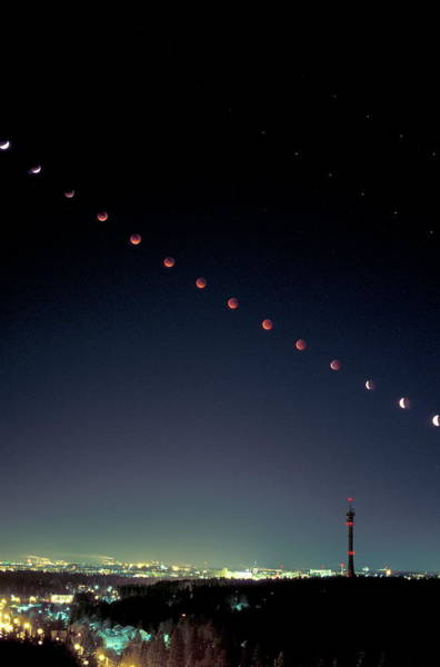 Atmospherics Wall Art - Photograph - Partial Lunar Eclipse by Pekka Parviainen/science Photo Library
