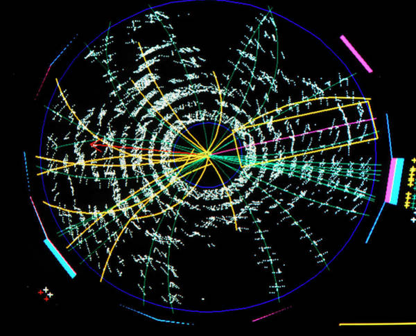 Particle Accelerator Wall Art - Photograph - Particle Tracks From T Quark Experiment by Fermilab/science Photo Library
