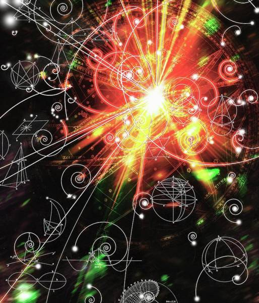 Subatomic Particle Photograph - Particle Tracks On Geometric Patterns by Mehau Kulyk/science Photo Library