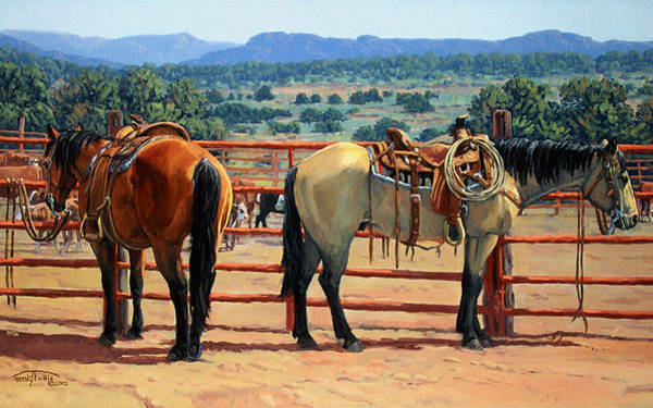 Wall Art - Painting - Partners Of The Lazy H by Randy Follis