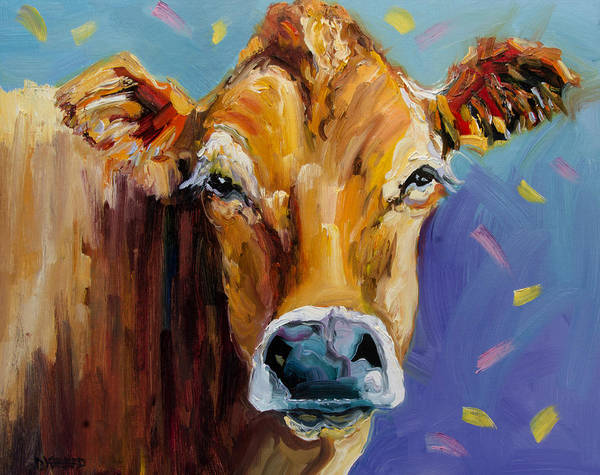 Wall Art - Painting - Party Cow by Diane Whitehead