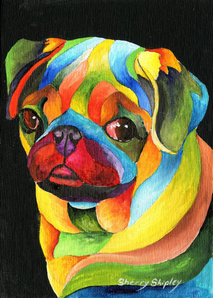 Pastel - Party Pug by Sherry Shipley