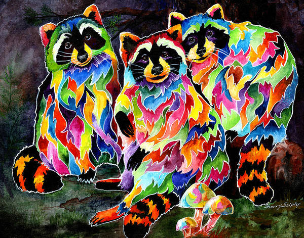 Painting - Party Time Raccoons by Sherry Shipley