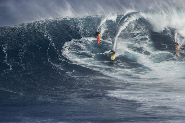 Photograph - Party Wave At Jaws  by Brad Scott