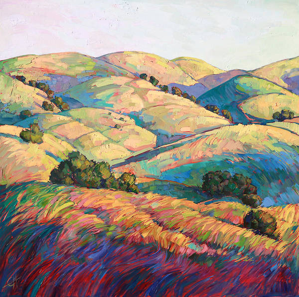 California Landscape Painting - Pasoscapes Diptych Left Panel by Erin Hanson