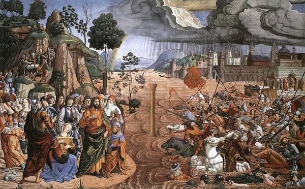 Apostolic Palace Wall Art - Painting - Passage Of The Red Sea by Cosimo Rosseli
