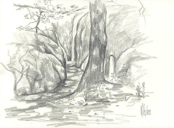 Drawing - Passageway At Elephant Rocks by Kip DeVore