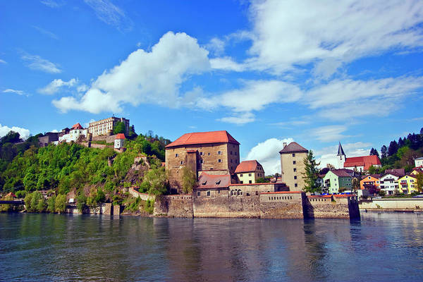 Fortification Photograph - Passau, Germany, The Danube River Flows by Miva Stock