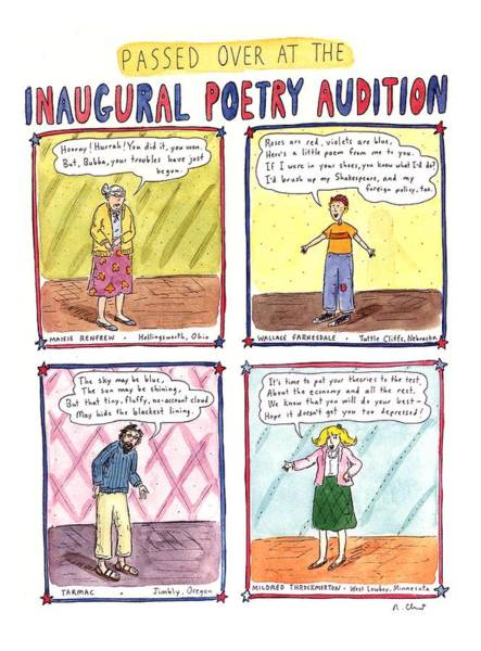 Poet Drawing - Passed Over At The Inaugural Poetry Audition by Roz Chast