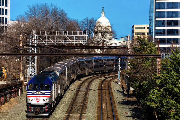 Us Capitol Photograph - Passenger Metro Train With Us Capitol by Panoramic Images