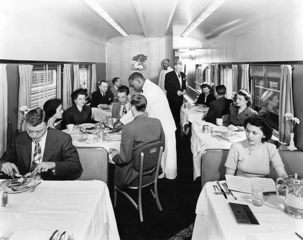 Compartments Photograph - Passengers Dining On Train by Underwood Archives