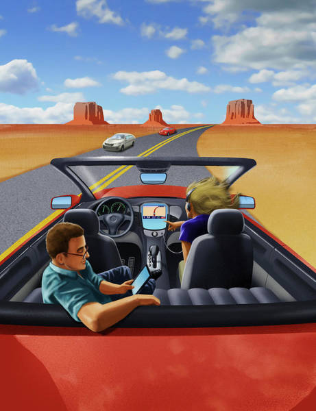 E-reader Wall Art - Photograph - Passengers Relaxing In Driverless Car by Ikon Ikon Images