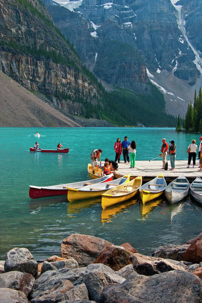 Canada Photograph - Passengers Renting Colourful Canoes On by Emily Riddell