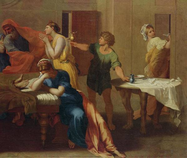 Sacrament Wall Art - Photograph - Passing The Oil, Detail From Extreme Unction Oil On Canvas See 282068 by Nicolas Poussin