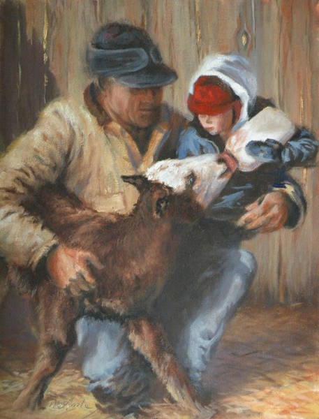 Calf Painting - Passing The Torch by Mia DeLode