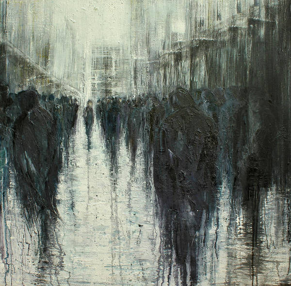 Abstract People Painting - Passing Through by Lesley Oldaker