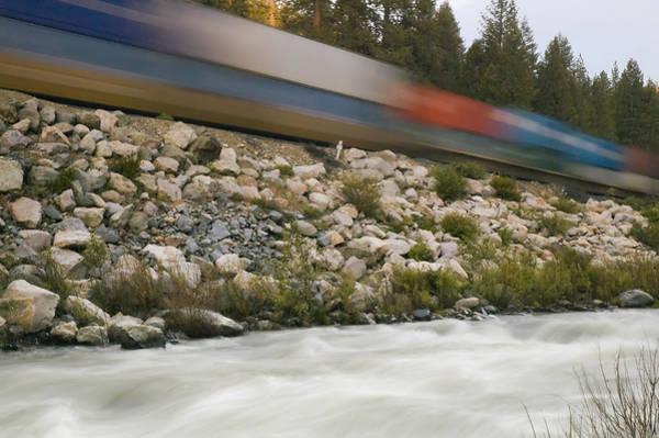Photograph - Passing Train Rushing River by Mick Burkey