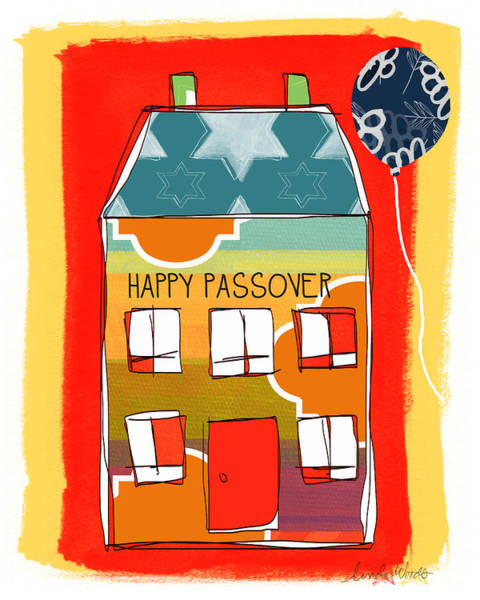 Card Painting - Passover House by Linda Woods