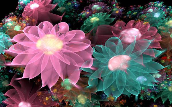 Julian Digital Art - Pastel Posies by Peggi Wolfe