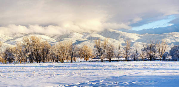 Sangre De Cristo Photograph - Pasture Land Covered In Snow With Taos by Panoramic Images