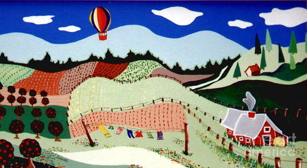 Clothesline Painting - Patchwork Farmland by Joyce Gebauer