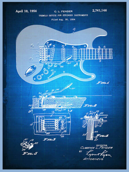Patent Mixed Media - Fender Guitar Patent Blueprint Drawing by Tony Rubino