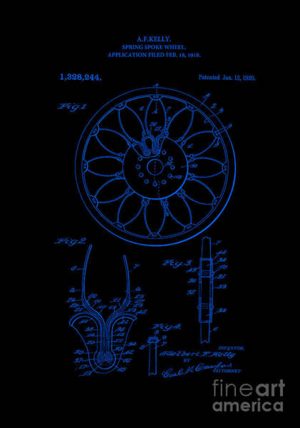 Digital Art - Patent Art 1918 Spring Spoke Wheel Inverted Blue by Lesa Fine