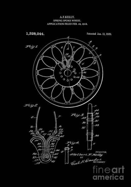 Digital Art - Patent Art 1918 Spring Spoke Wheel Inverted by Lesa Fine