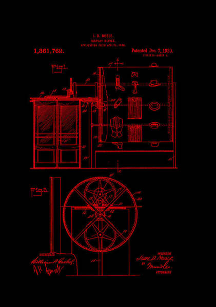 Clothing Design Mixed Media - Patent Art 1920 Closet Display Red by Lesa Fine