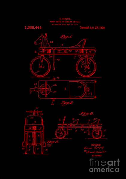 Digital Art - Patent Art 1920 Herzog Hobby Horse Red by Lesa Fine