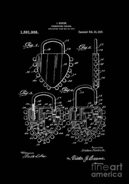 Digital Art - Patent Art 1920 Kodish Combination Padlock Inverted by Lesa Fine