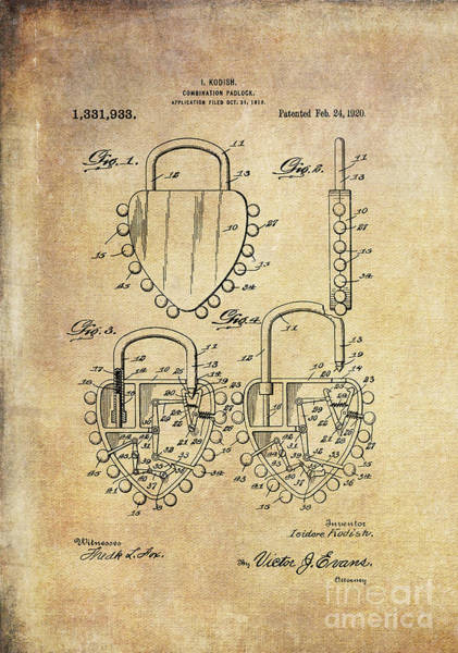 Digital Art - Patent Art 1920 Kodish Combination Padlock Orig by Lesa Fine